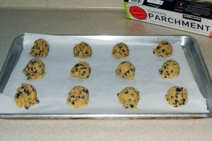 keto chocolate chip cookie dough on cookie sheet 1