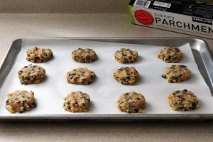 Keto chocolate chip cookie dough on cookie sheet 2